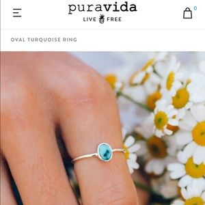 Purvida- oval turquoise silver ring